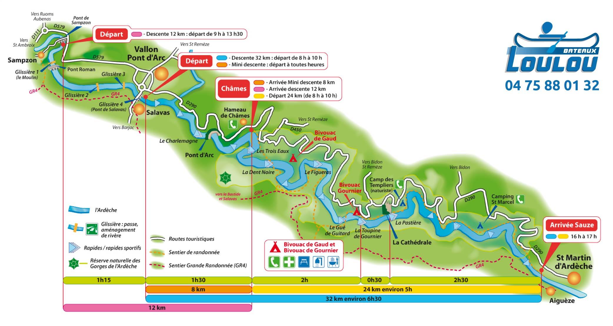 Carte de la descente des Gorges de l'Ardèche en Canoë-Kayak
